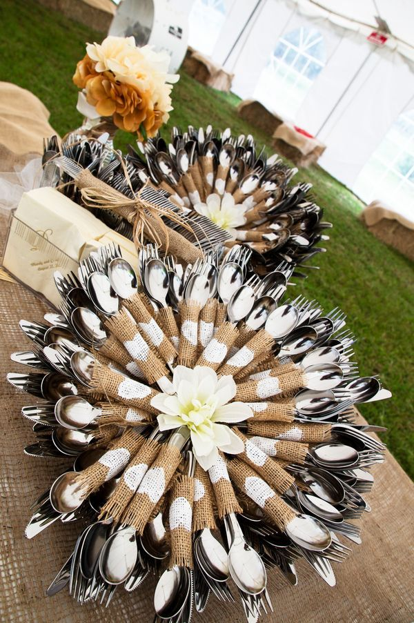 Such a creative way to display silverware for a buffet! The burlap seems indicative of turkey plumes....love this for fall!