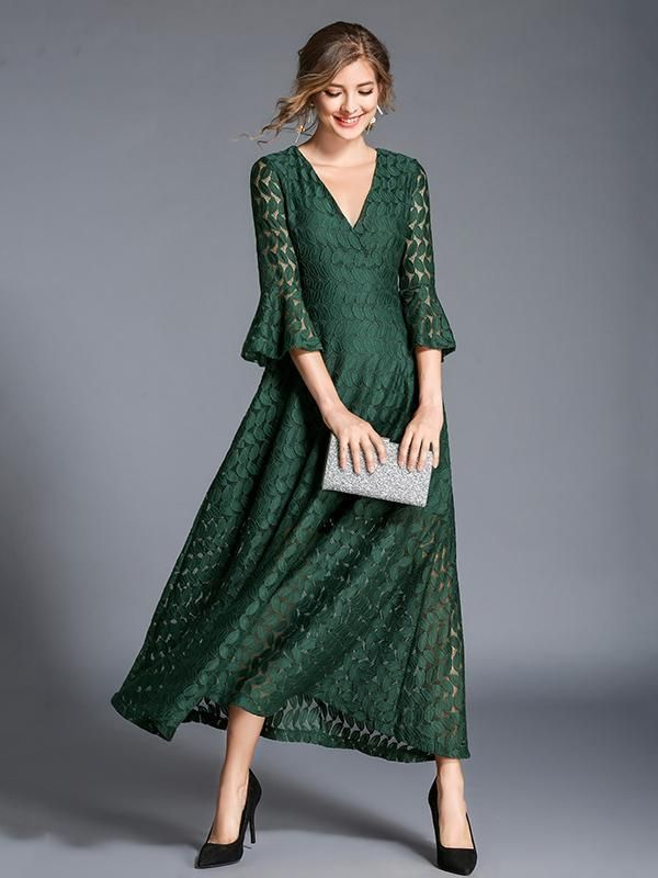 0afc31b2dd8f Lace Hollow V-neck Flared Sleeves Maxi Dress in 2019 | Oshoplive ...