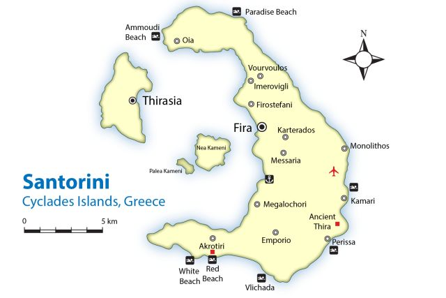 Island Hop to Santorini, the Most Popular Island in Greece.: Map of Santorini's Best Beaches and Cities