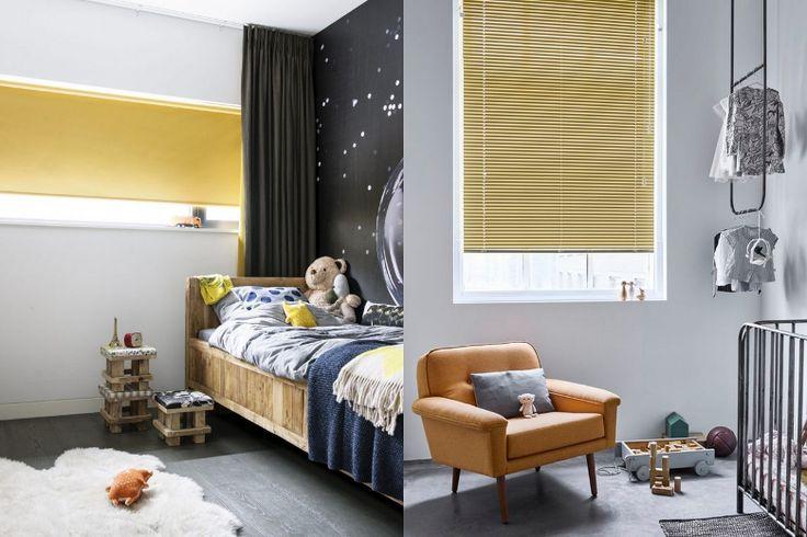 Gordijnen De kleur geel komt terug in de nieuwste gordijn collecties, hiermee is een somber interieur  in een handomdraai vrolijk. Door het te combineren met fris witte muren en antraciet grijs of zwart ontRaambekleding van bece®