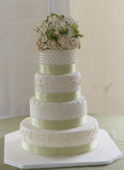 wedding cakes pictures: Cakes Ideas, Green Ribbons, Color Schemes, Green Wedding Cakes, Cakes Wedding, White Wedding Cakes, Weddingcak, Simple Wedding, Elegant Wedding