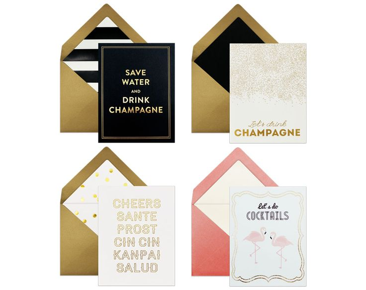 """ASSORTED CARDS """"Let's Have Drinks set"""" >>  SWEET DEAL   with less money, you can buy more and save time. Keep these social cards inside your drawer to be ready for last-minute social events you gotta attend to. #greetingcards"""