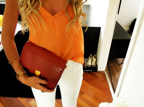 bright top & white jeans: Orange, White Skinny, Colors Combos, Fashion, Summer Outfit, Style, Whitejeans, White Pants, White Jeans