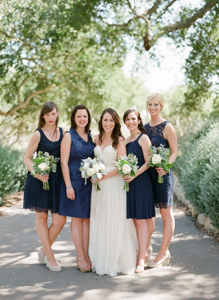 Navy bridesmaids | Read More: http://www.stylemepretty.com/little-black-book-blog/2014/07/09/sunny-elings-park-wedding/ | Photography: Michael  Anna Costa Photography ~ Anna Costa - michaelandannacosta.com