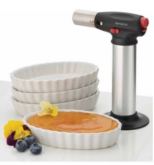 Cooking Blow Torch 4 Ramekins Creme Brulee Set Chef Butane Micro Hand Held  #BonJourChef