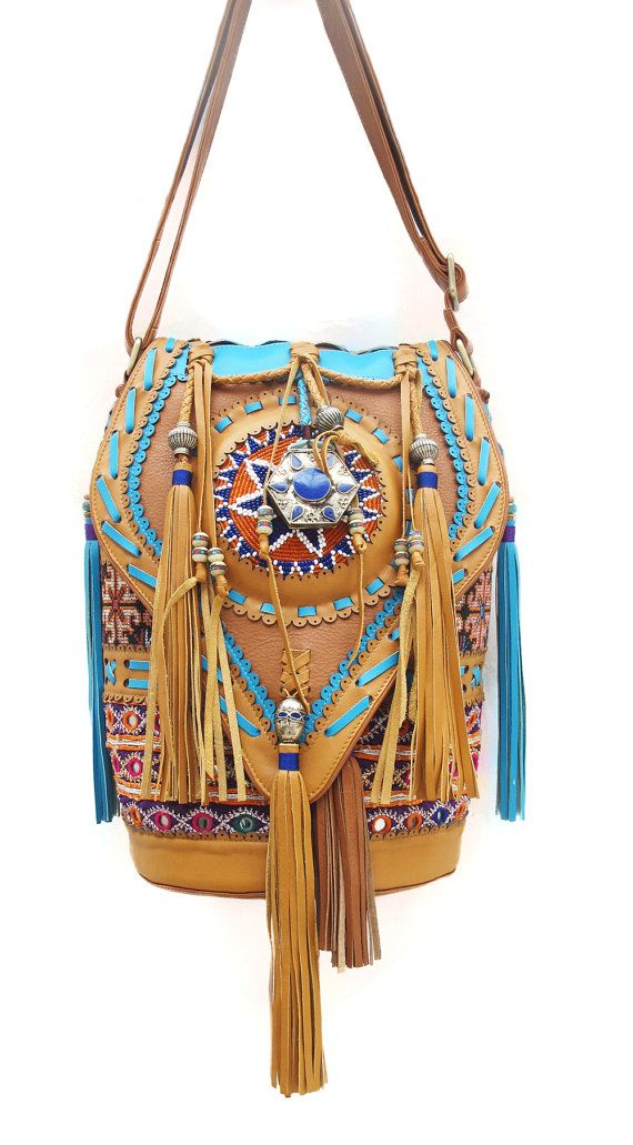 Mr Meow Bucket Bag Vintage Banjara Hmong Leather by Soulindha