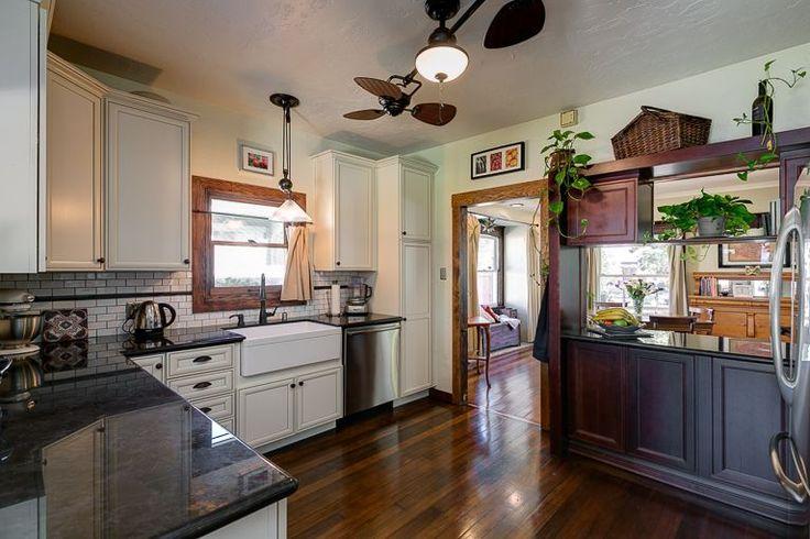Craftsman Kitchen with Artisan Series 5-Quart Tilt-Head Stand Mixer, U-shaped, Subway Tile, Pendant Light, Flush, Ceiling fan
