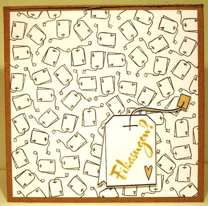 Ett kort med te-påsar, små och en stor från Gummiapan