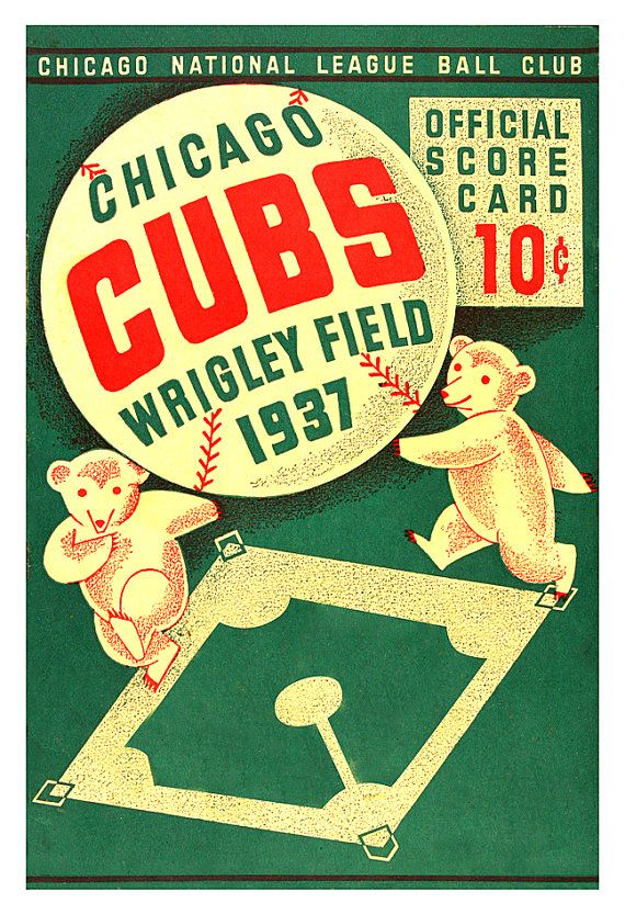 Chicago Cubs 1937 Wrigley Field score card print by aswegoArts
