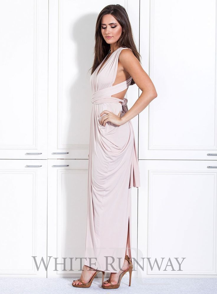 Goddess Gown. A beautifully draped multi-way dress. Made of a beautiful poly, spandex blend knit that can be styled over 8 different ways. #whiterunway #multiway #wedding #bridesmaids #weddingflash