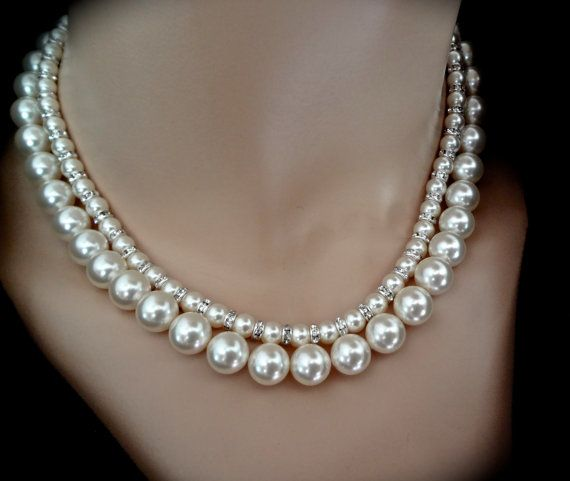 Chunky Pearl necklace // Swarovski // Crystal by QueenMeJewelryLLC