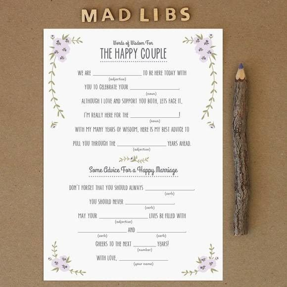 wedding Mad Libs for guests