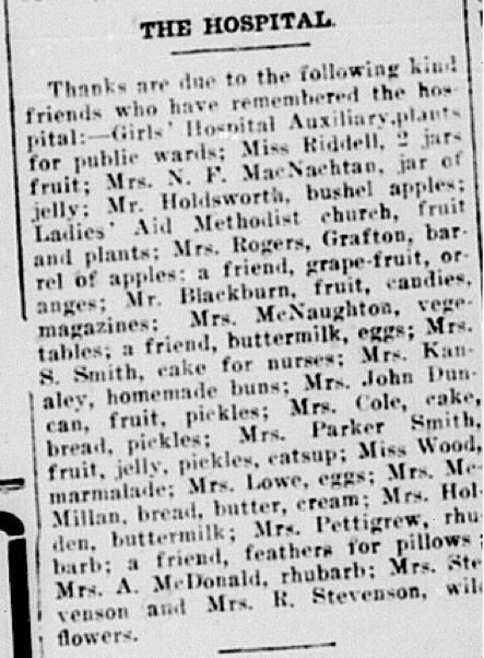Mrs. Kanaley donates homemade buns to hospital, June 1, 1917, Cobourg World