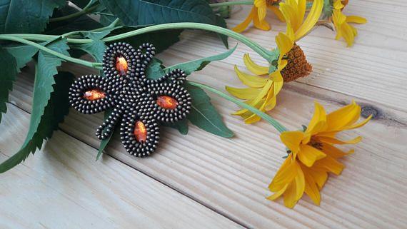 Orange butterfly brooch Zipper accessory Butterfly jewelry