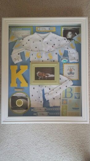 Newborn shadow box filled with memories!