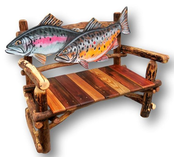 Delightful Fish Bench Trout Bench Fish Furniture Fly Fishing By WoodzyShop