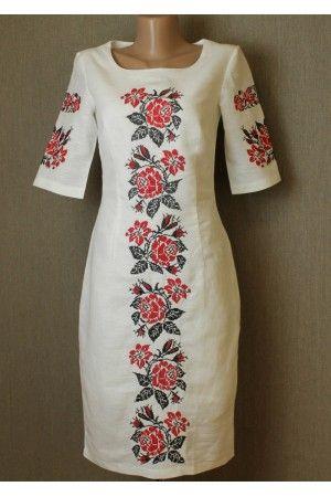Сукня «Пишна ружа» – з вишивкою, льон, купити в Києві