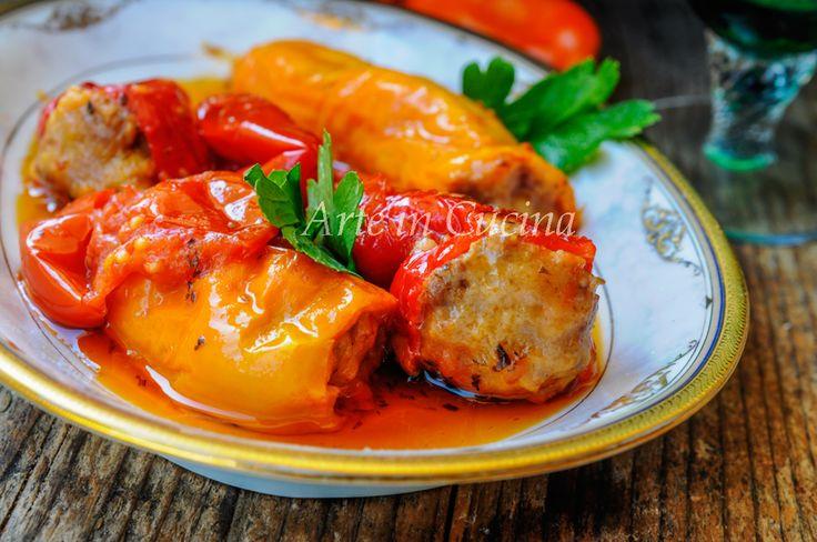 Peperoni cornetti ripieni di carne ricetta facile vickyart arte in cucina