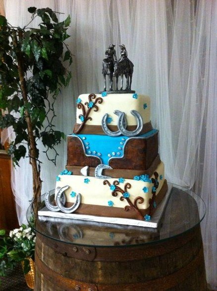 Wedding cake... Chocolate + #blue #country #western #wedding … Wedding #ideas for brides, grooms, parents & planners itunes.apple.com/... … plus how to organise an entire wedding, within ANY budget ♥ The Gold Wedding Planner iPhone #App ♥ For more inspiration pinterest.com/...  #rustic #country #reception #ceremony #flowers #ideas
