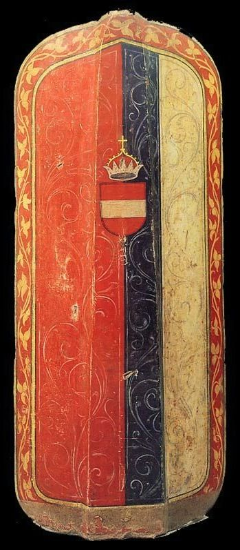 Austrian Pavise, ca 1480 (Overall height: 49 1/4 in; Overall width: 21 1/2 in) -- It is painted with the arms of the Austrian Bindenschild
