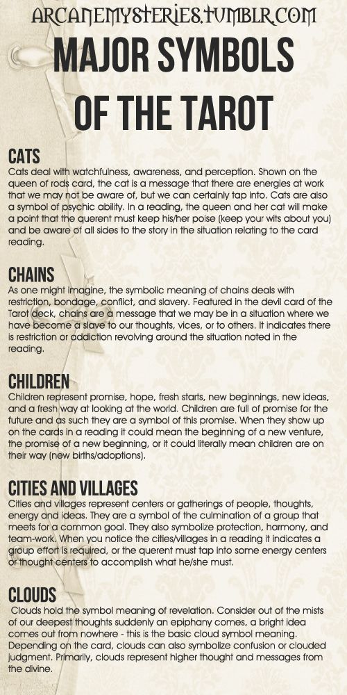 Tarot Tips. Major Symbols of the Tarot (8) http://arcanemysteries.tumblr.com/