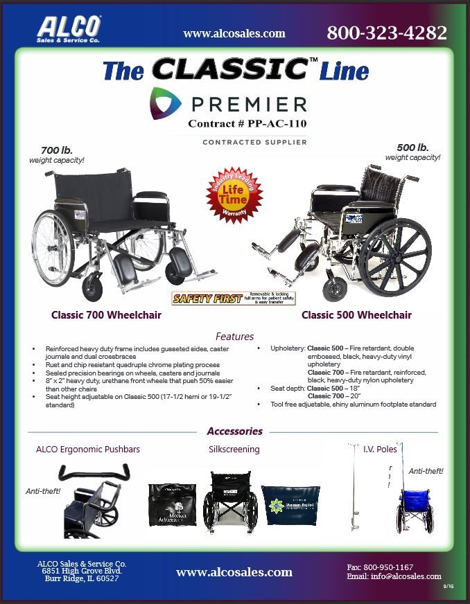 Premier GPO Members receive a discount on our Classic Line of wheelchairs