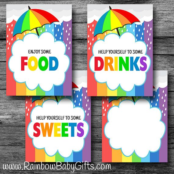 Food Signs, PRINTABLE Rainbow Baby Shower Food Signs, Sweets Sign, Drinks  Sign, Food Sign, Blank Sign, Buffet Signs, INSTANT DOWNLOAD