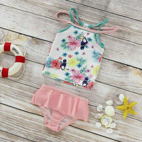 Sommer Kinder Mädchen Blumen Rüschen Badeanzug Kinder Bikini Kleinkind Bademode …   – Girls' Clothing (Newborn-5T)