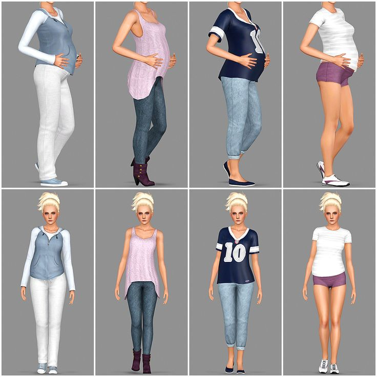 More default replacement maternity clothes! This time for the University Life expansion pack. :D (Please click the pictures if you want to enlarge them!) I shaped each of these twenty-eight pieces...