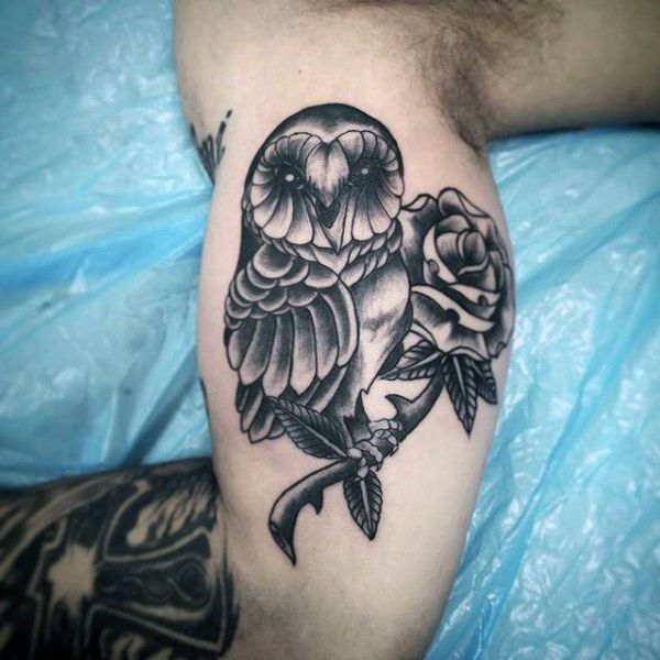 Inner Arm Bicep Traditional Male Barn Owl Tattoos Tattoos