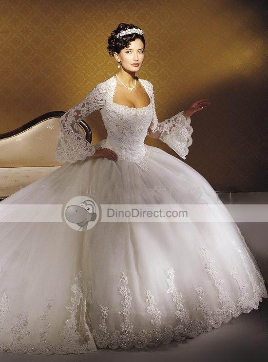 Modern day wedding dress...Huge full skirt, High Waistline...
