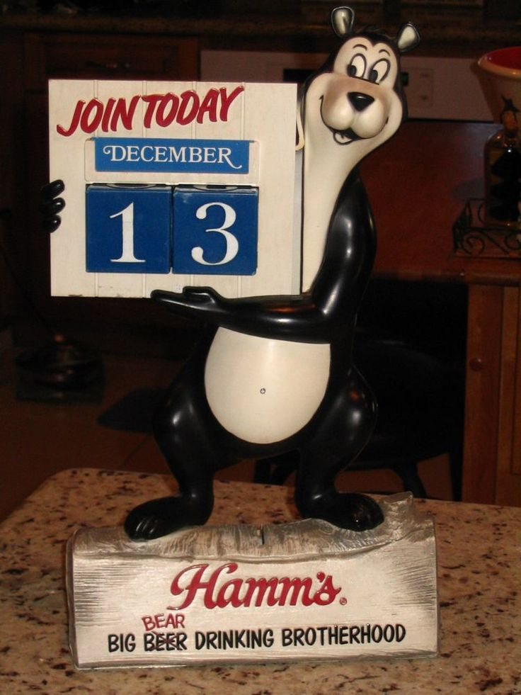 VTG HAMM'S Beer Big Bear Drinking Brotherhood Calendar Display Sign 1960s & Bank