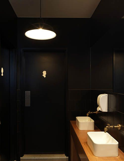 BIB' N TUCKER | alwill  #blacktiles #interiors #bathroom #vanity #wood