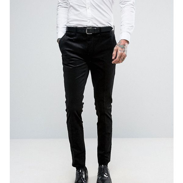 Only & Sons Super Skinny Suit Pant In Cord ($75) ❤ liked on Polyvore featuring men's fashion, men's clothing, men's pants, men's dress pants, black, mens skinny corduroy pants, mens super skinny dress pants, mens skinny fit dress pants, mens corduroy pants and mens zipper pants