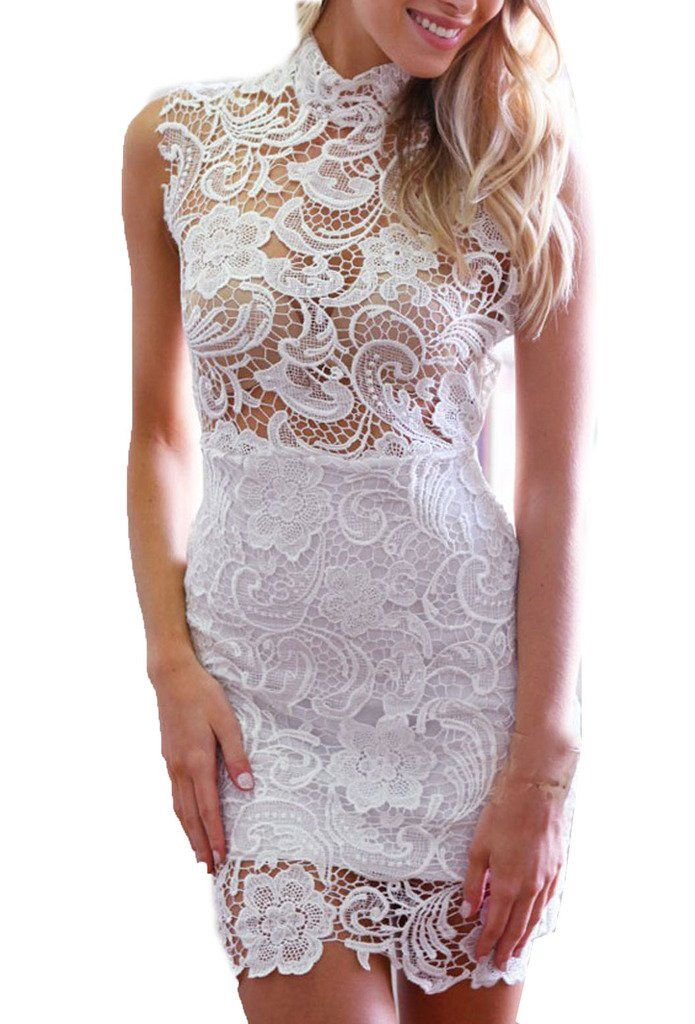 Zkess Women's Sleeveless Lace Cocktail Party Dress: Clothing: