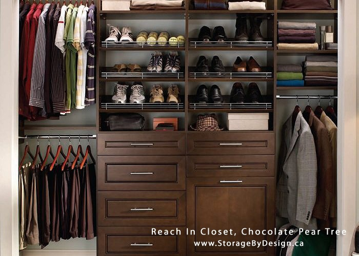 Chocolate Pear Tree Mens Reach In Closet Lots Of Drawers For Socks Undergarments And