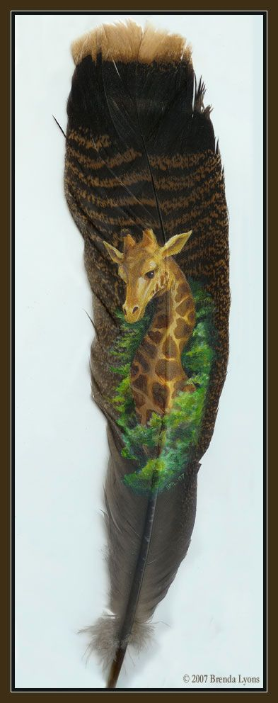 'Up In the Treetops' - Hand Painted Turkey Feather by Brenda Lyons