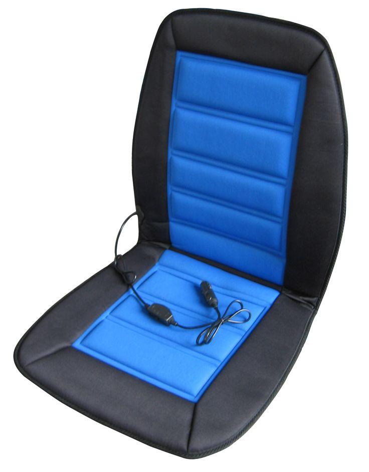 ABN Heated Car Seat Cushion 12V Adjustable Temp in Blue/Black Heated Chair Cover