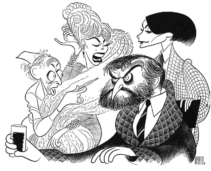 "Al Hirschfeld ~ Clive Revill, Janet Fox, Kathryn Grayson, and Elizabeth Allen in ""Sherry!"""