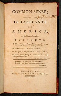 Common Sense is a pamphlet that was created by Thomas Paine in 1776.  This pamphlet stated that a separation between Britain and its colonies was needed.  Common Sense was sold to 100,000 americans in under three months (published in January).  This document was one of the most important and influential political documents in the U.S. and world history.