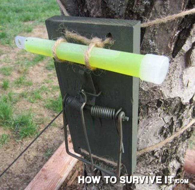 26 wilderness and survival tips Set up a glow in the dark security system for your campsite with a mousetrap and a glow stick