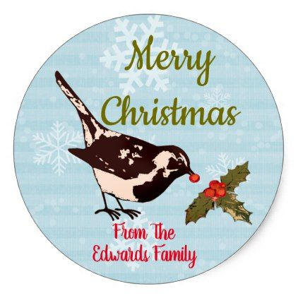 Christmas Song Birds and Holly Custom Stickers - christmas craft supplies cyo merry xmas santa claus family holidays