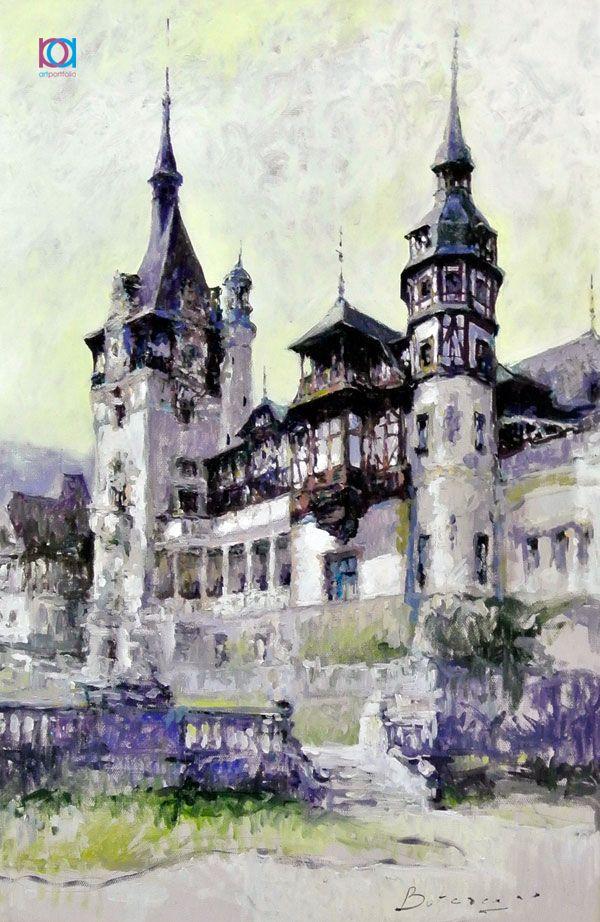 Vitalie Butescu - Castelul Peleș / Peleș Castle, Sinaia, 60 x 50 cm, ulei pe pânză / oil on canvas