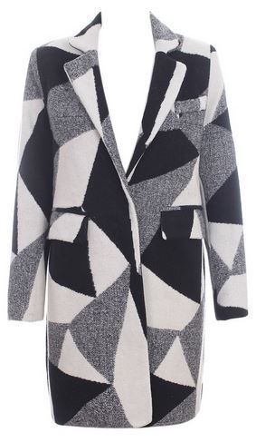 Love this Coat! Black Grey and White Couture Style Notched Lapel Geometric Color Block Longline Woolen Coat #Black #Grey #White #Geometric #Couture #Style #Coat #Fall #Winter  #Fashion #Outerwear