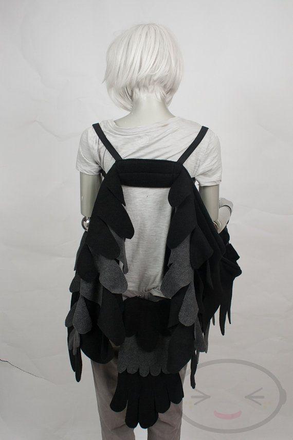 Lange schwarze Rabe Feather Wings und/oder Tail Set