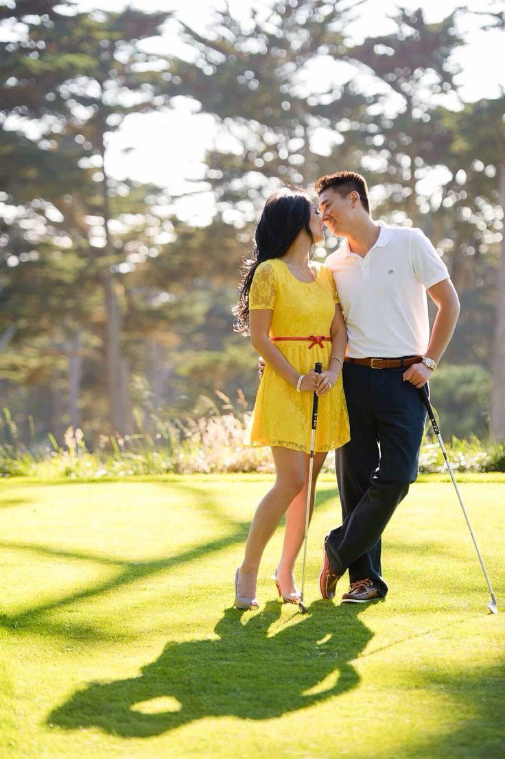 Golf engagement photos