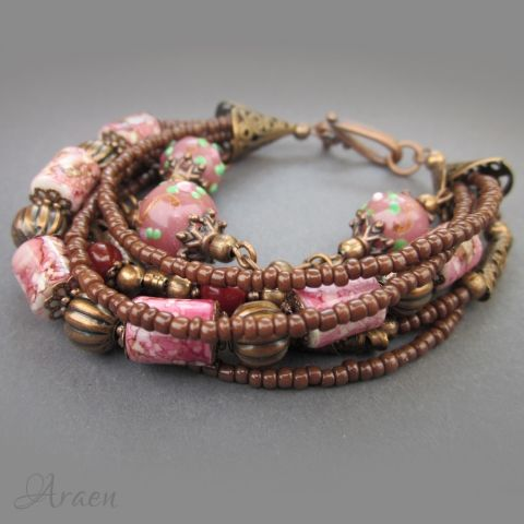 Mauve antiqued copper rustic boho bracelet with agate and ceramic beads.