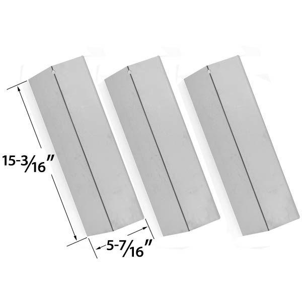 REPLACEMENT 3 PACK STAINLESS STEEL HEAT PLATE FOR SURE HEAT, JENN-AIR, COSTCO, SONOMA, TUSCANY GAS GRILL MODELS Fits Compatible Sure Heat Models : CGR27, CGR30NG, JA38, SGR27LP, SGR30M, SGR30MLP