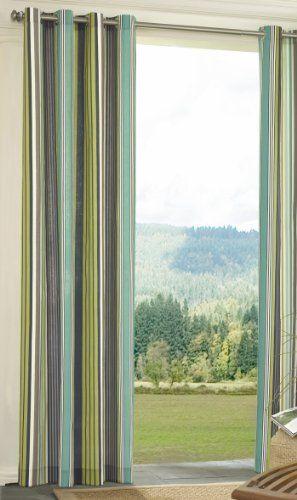 EHS 11545052X096OC Capetown Stripe Grommet Indoor Outdoor Gazebo Patio  Curtain, Ocean By EHS. $42.15