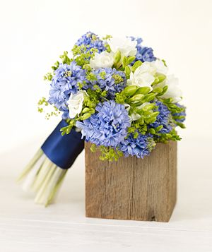 blue, green white bouquet (hyacinth, freesia and lady's mantle)